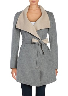 Laundry by Shelli Segal Heathered Wool-Blend Wrap Coat