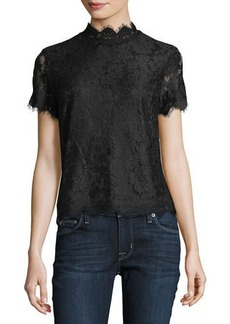 Laundry By Shelli Segal High-Neck Short-Sleeve Lace Top
