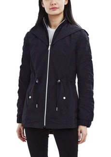 Laundry by Shelli Segal Hooded Bibbed Water-Resistant Anorak Raincoat