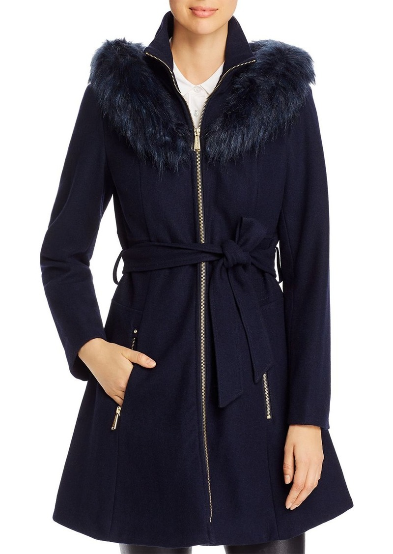 Laundry by Shelli Segal Hooded Faux Fur Trim A-Line Coat