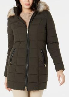 Laundry By Shelli Segal Hooded Faux-Fur-Trim Puffer Coat