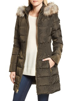 Laundry by Shelli Segal Hooded Quilted Jacket with Faux Fur Trim