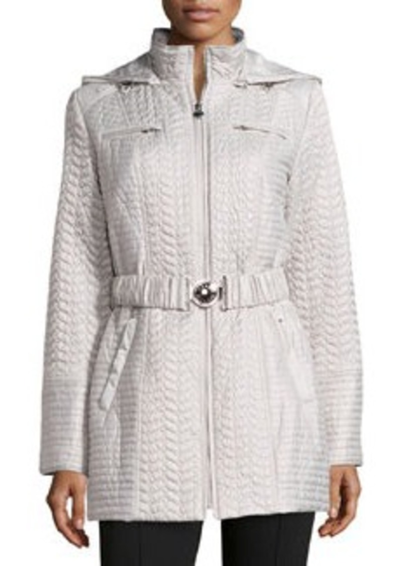 Laundry by Shelli Segal Hooded Quilted Weather-Resistant Jacket, Pebble