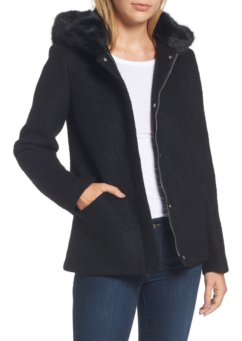 Laundry by Shelli Segal Hooded Wool Blend Bouclé Jacket with Faux Fur Trim