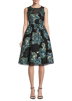 Laundry by Shelli Segal Jacquard Fit-And-Flare Dress