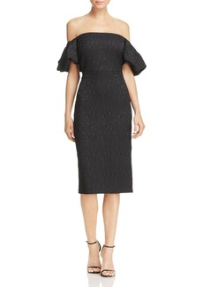 Laundry by Shelli Segal Jacquard Off-the-Shoulder Dress
