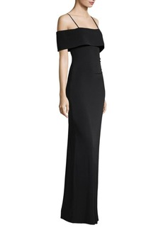 Laundry by Shelli Segal Jersey Portrait Collar Gown