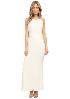 Laundry by Shelli Segal Jersey T-Back Beaded Gown