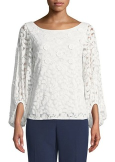 Laundry By Shelli Segal Lace 3D Long-Sleeve Blouse