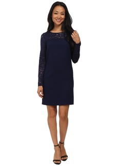 Laundry by Shelli Segal Lace Blocked Long Sleeve Shift Dress
