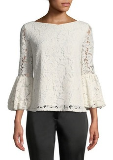 Laundry By Shelli Segal Lace Blouse with Bell Sleeves