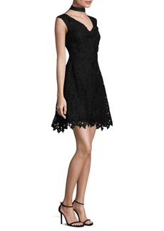 Lace Choker Fit-&-Flare Dress