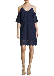 Laundry by Shelli Segal Lace Cold-Shoulder Trapeze Dress