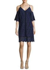 LAUNDRY BY SHELLI SEGAL Lace Cold-Shoulder Trapeze Dress