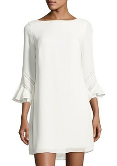Laundry By Shelli Segal Lace-Inset Ruffle-Sleeve Shift Dress