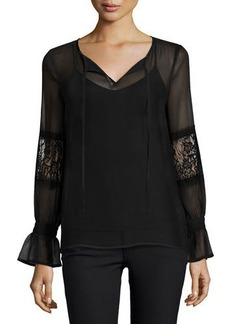 Laundry By Shelli Segal Lace-Mix Long-Sleeve Blouse