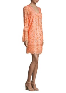 Lace Bell-Sleeve Shift Dress