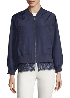 Lace-Trim Bomber Jacket