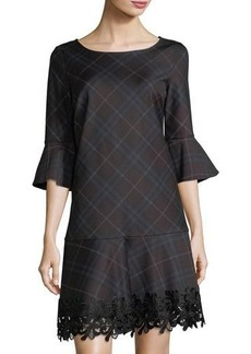 Laundry By Shelli Segal Lace-Trim Plaid Knit Dress