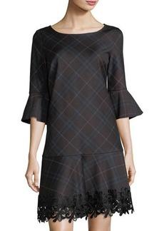 Laundry By Shelli Segal Lace-Trim Plaid Knit Dress