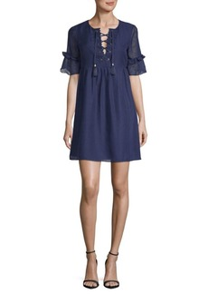 Laundry by Shelli Segal Lace-Up A-Line Dress