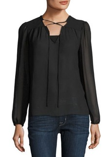 Laundry By Shelli Segal Solid Chiffon Top