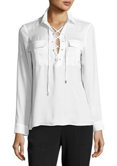 Laundry By Shelli Segal Lace-Up Collar Blouse