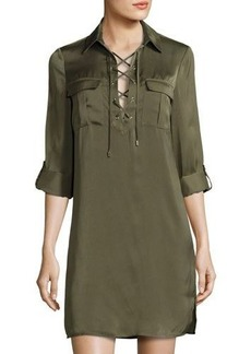 Laundry By Shelli Segal Lace-Up Long-Sleeve Satin Shirtdress