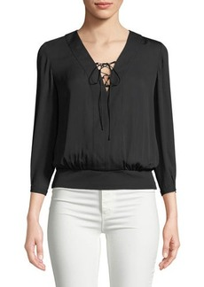 Laundry By Shelli Segal Lace-Up Woven Blouse