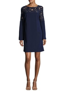 Laundry by Shelli Segal Lace Yoke Crepe Dress