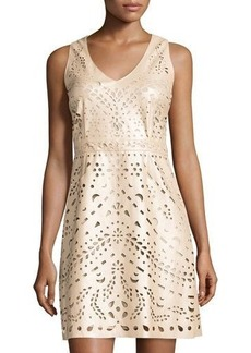 Laundry by Shelli Segal Laser-Cut Faux-Leather Dress