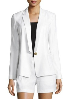 Laundry By Shelli Segal Linen-Blend One-Button Blazer