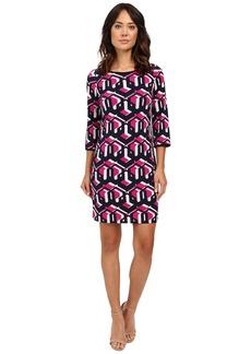 "Laundry by Shelli Segal ""Lock Eyes"" 3/4 Sleeve Printed Matte Jersey Dress"