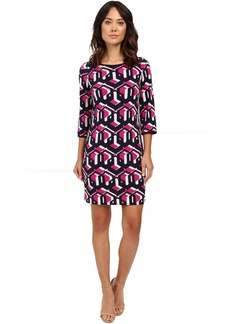 """Lock Eyes"" 3/4 Sleeve Printed Matte Jersey Dress"