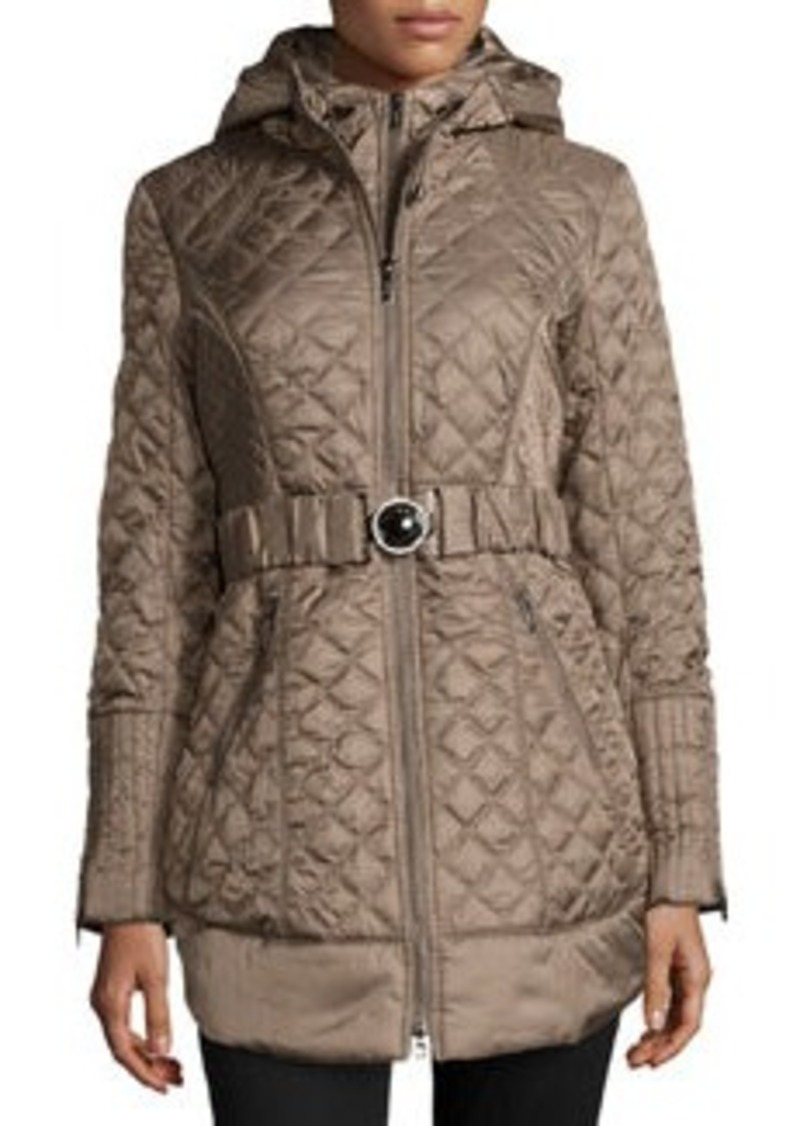 Laundry by Shelli Segal Long Diamond-Quilted Rhinestone-Detailed Jacket, Olive