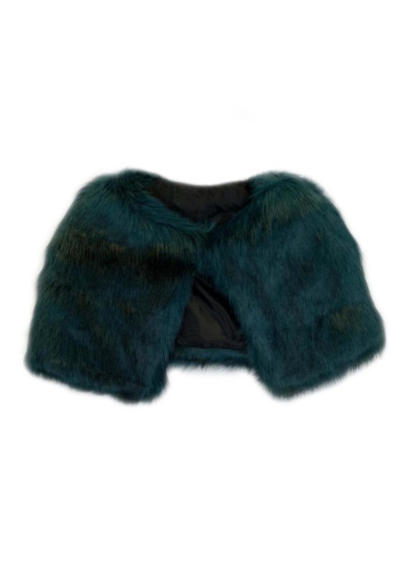 Laundry by Shelli Segal Long Hair Faux Fur Capelet