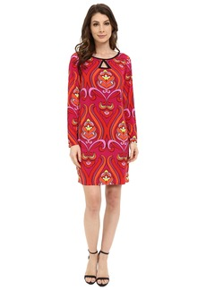 Laundry by Shelli Segal Long Sleeve Key Hole Print Dress