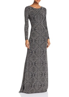 Laundry by Shelli Segal Long-Sleeve Open-Back Gown