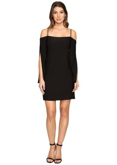 Laundry by Shelli Segal Long Wrap Slit-Sleeve Off the Shoulder Cocktail Dress