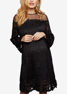 Laundry by Shelli Segal Maternity Lace Bell-Sleeve Dress