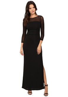 Laundry by Shelli Segal Matte Jersey Gown w/ Mesh Sleeves