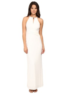 Laundry by Shelli Segal Matte Jersey Gown w/ Necklace Detail