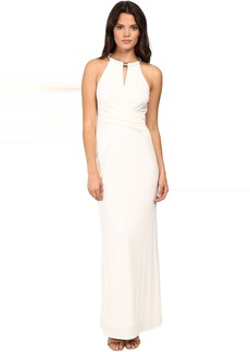 Matte Jersey Gown w/ Necklace Detail