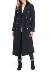Laundry by Shelli Segal Maxi Double Breasted Wool Blend Military Coat