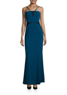 Laundry by Shelli Segal Mesh Insert Gown