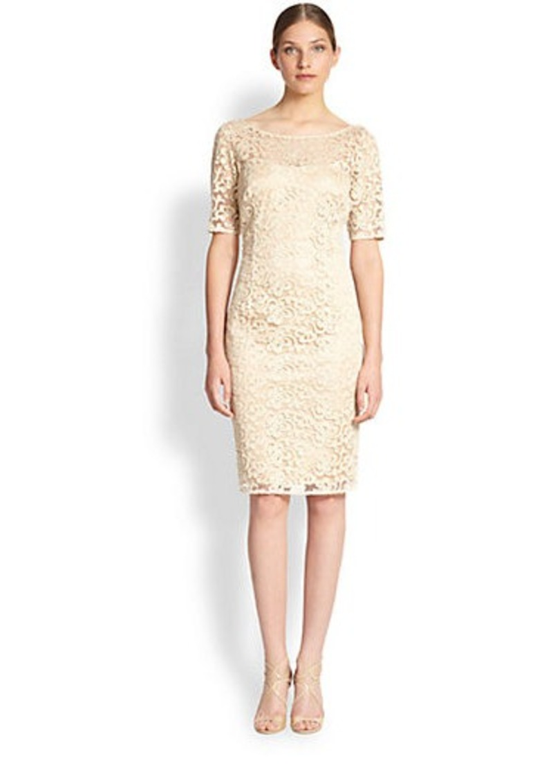 Laundry by Shelli Segal Metallic Embroidered Lace Dress