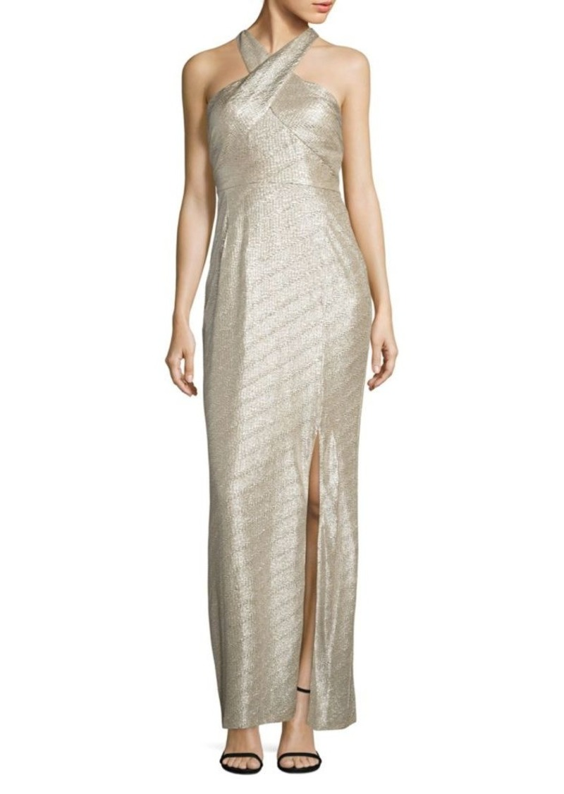 Laundry by Shelli Segal Metallic Halter Gown