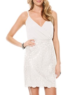 Laundry by Shelli Segal Metallic Lace Blouson Dress