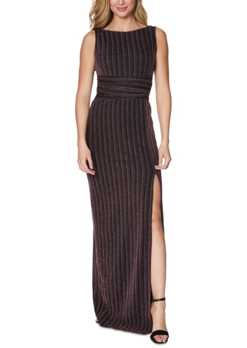 Laundry by Shelli Segal Metallic-Stripe Slit Gown
