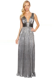Laundry by Shelli Segal Metallic Waist Wrap Gown